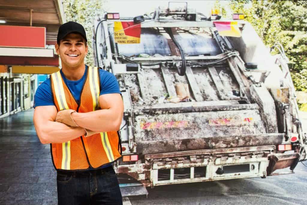 Happy Driver behind TrashTruck